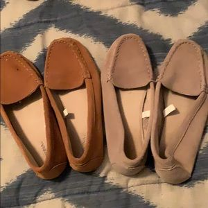 2 -pair size 6w ladies suede like loafers